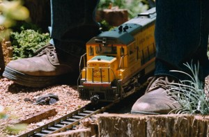 Model train on a track.